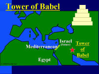 Map of location of the Tower of Babel.