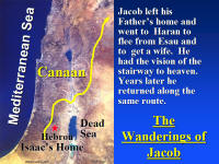 Photo map showing the travels of Jacob and his family.