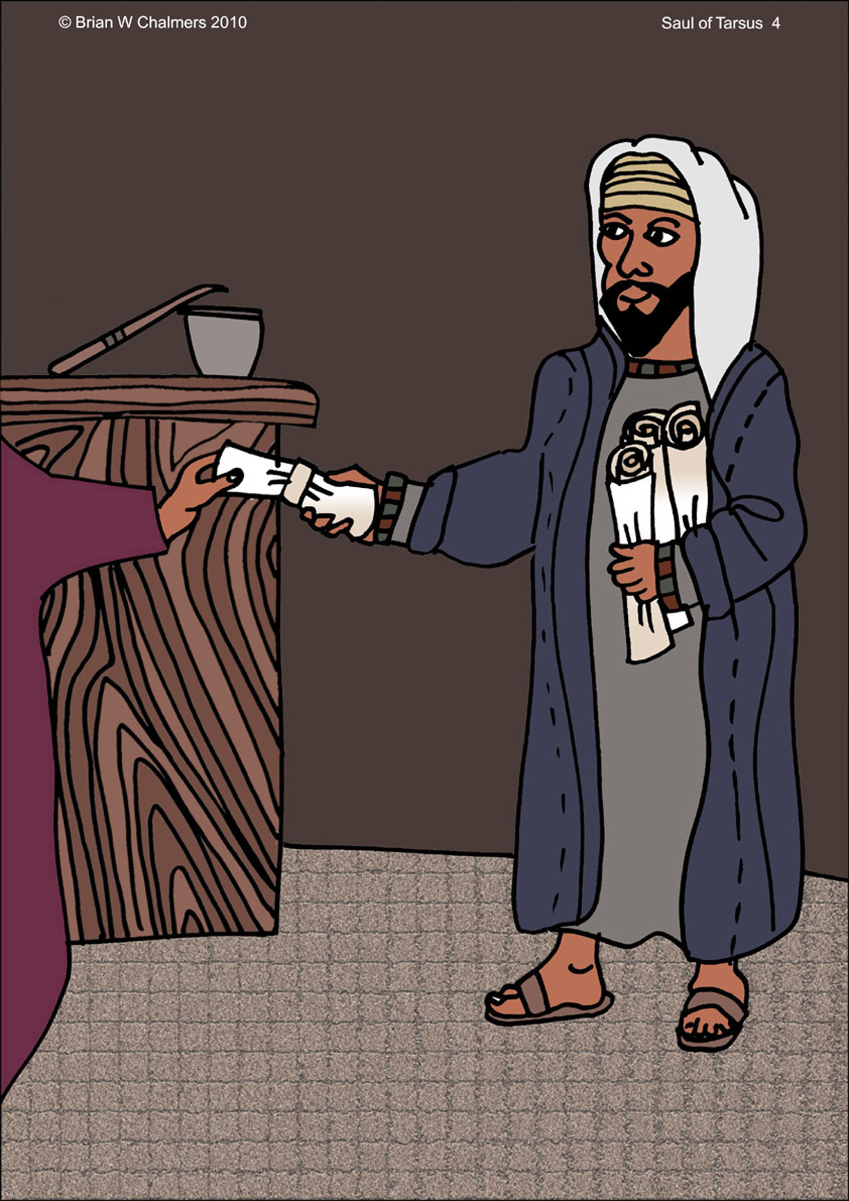 Childrens coloring sheet of saul and ananias - Saul Gets Letters From Leaders