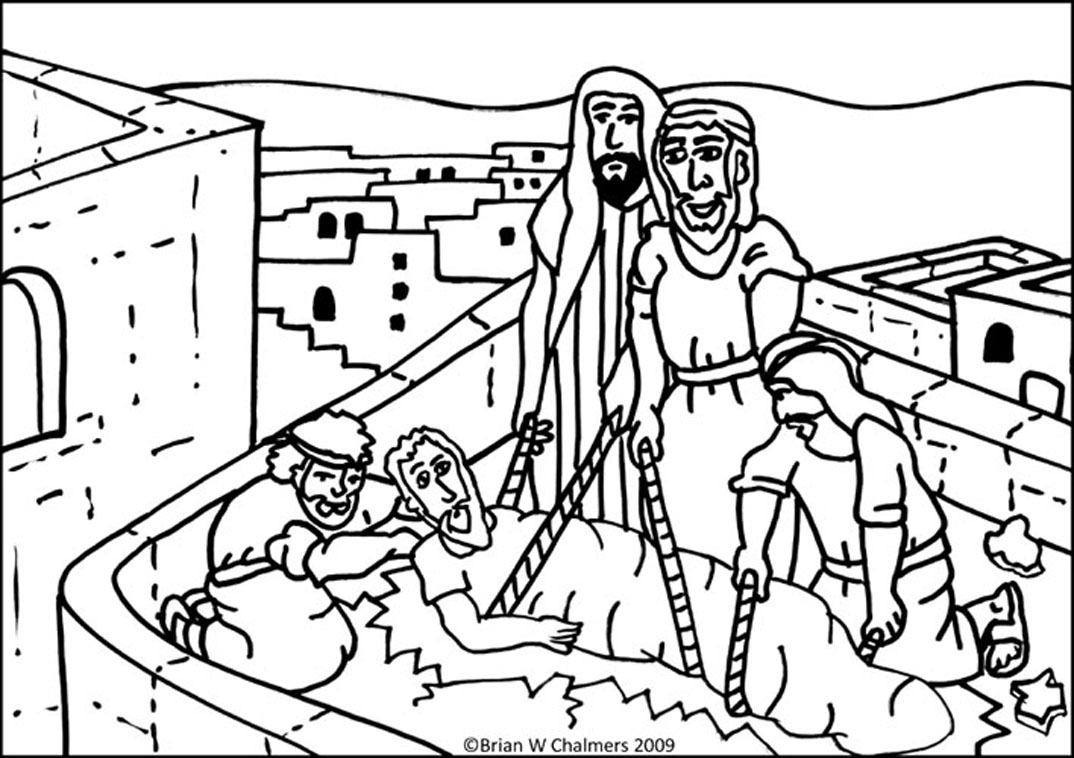 Coloring Page Of Hole In Roof Jesus Heals